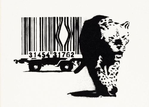 BANKSY - ESCAPE THE BAR CODE - White canvas print - self adhesive poster - photo print